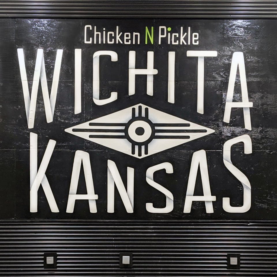 """Wichita, Kansas"" Lupoli Collective, 2019, acrylic - Chicken N Pickle Wichita Stage"
