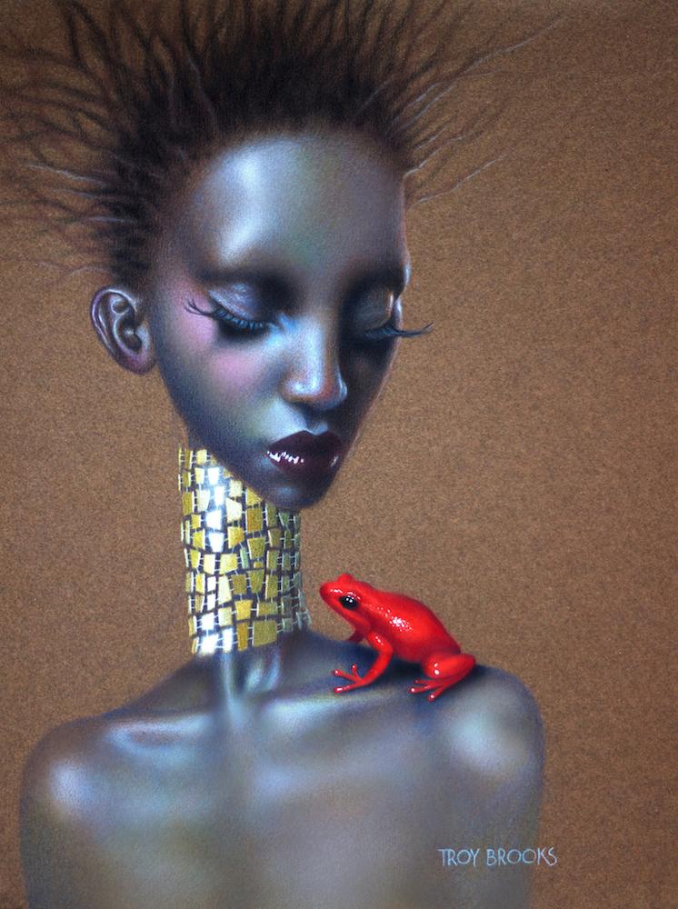 "Opal  12"" x 9"" • Polychromos Coloured Pencil on 98 lb tinted Mi-Tientes Pastel Paper"