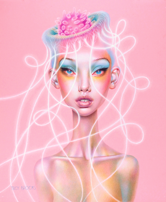 """Jellyhead  16"""" x 12"""" • Polychromos Coloured Pencil on Pink Canson Drawing Paper"""