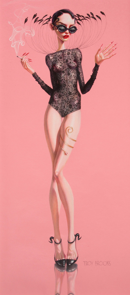 "Pasha Smoking  24"" x 9"" • Polychromos Coloured Pencil on Pink Canson Drawing Paper"