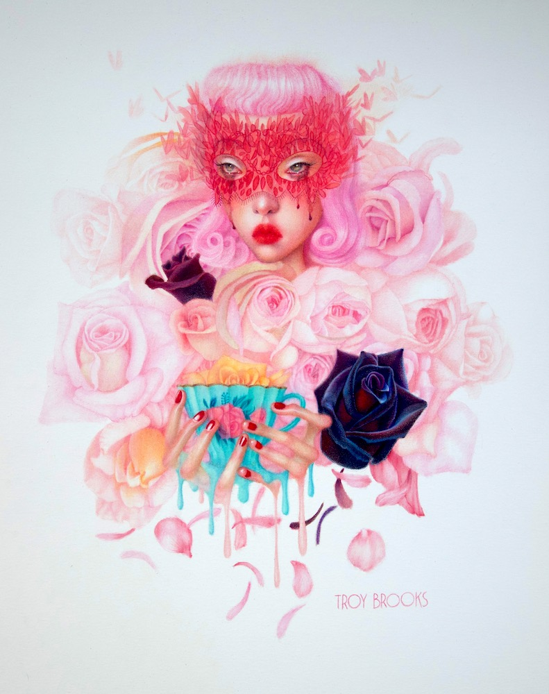 """Rosewater Tea  17"""" x 14"""" • Polychromos Coloured Pencil on White Heavy Bristol Paper"""