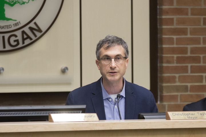 Ann Arbor Mayer Christopher Taylor speaks at the City Council meeting on Tuesday.