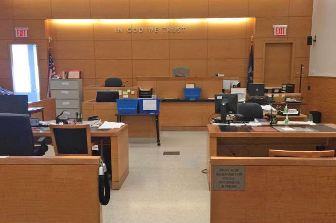 A Brooklyn Supreme court courtroom sits empty last year because of a lack of Court Reporters
