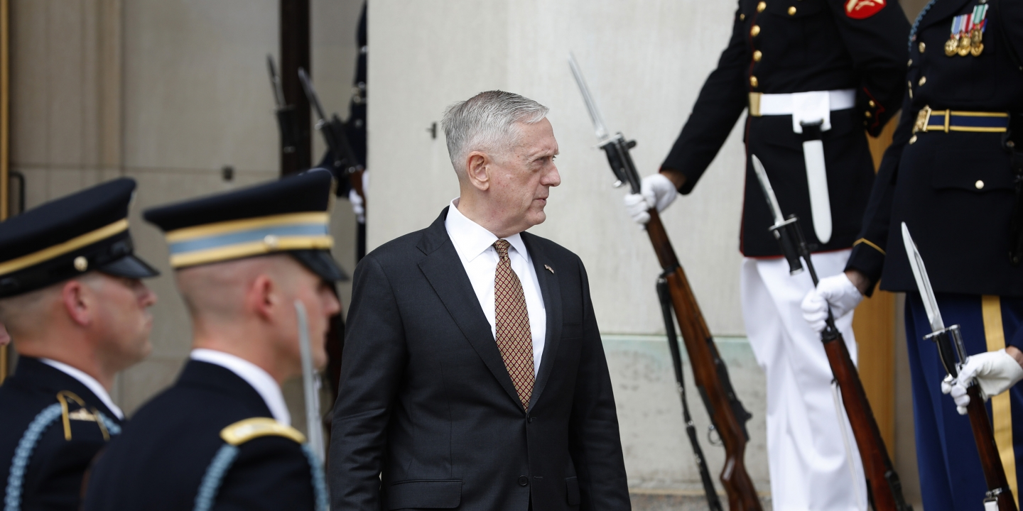 U.S. Secretary of Defense James Mattis awaits the start of an honor cordon welcoming UK Secretary of State for Defence Sir Michael Fallon at the Pentagon on July 7, 2017, in Arlington, Virginia.