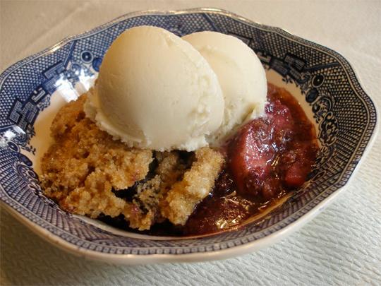 Apple-Blueberry Crisp with nondairy ice cream