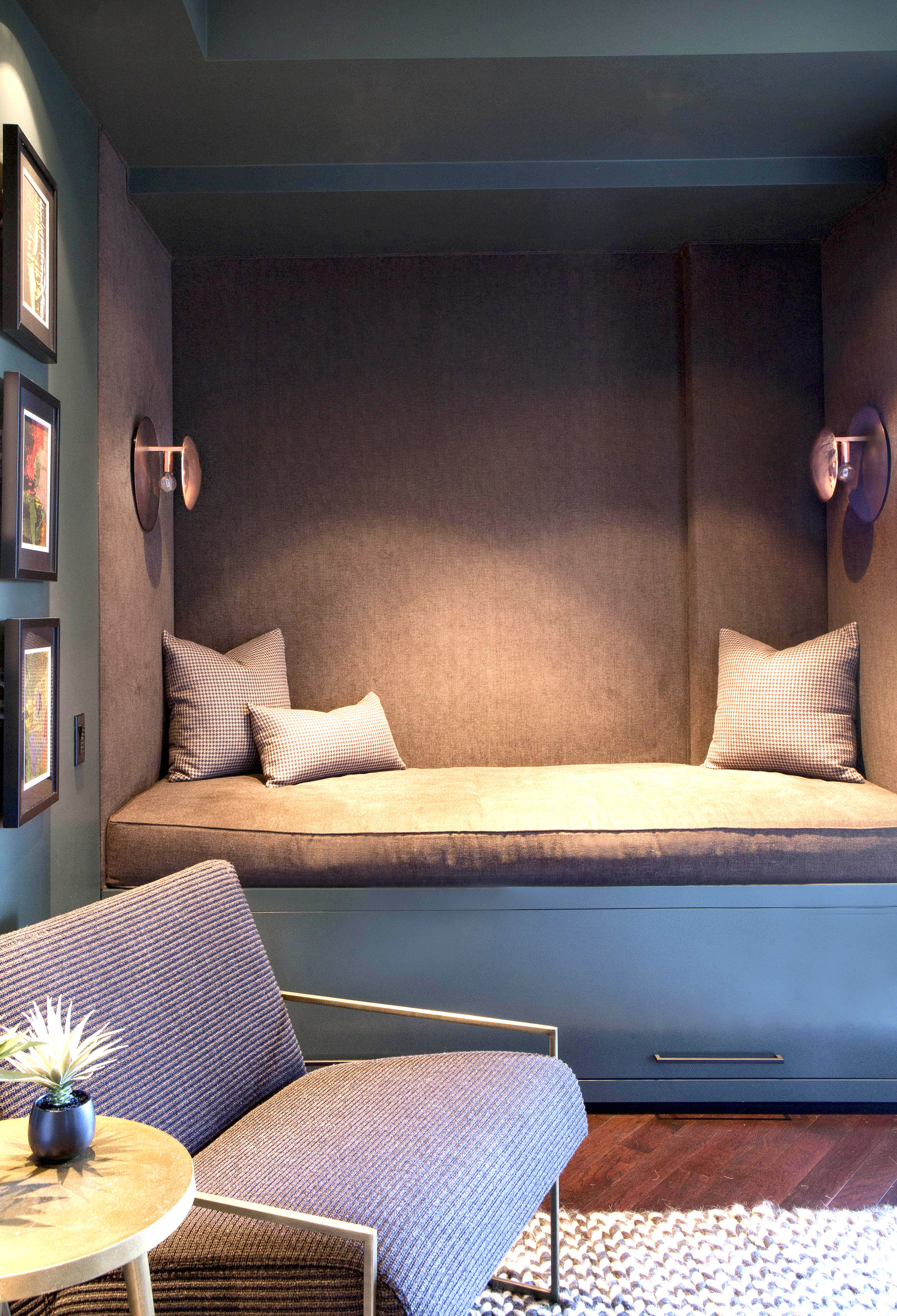 - In a true blend of form and function, we transformed the study into a self-contained guest room, replacing a closet with a cove-like daybed complete with suitcase storage.