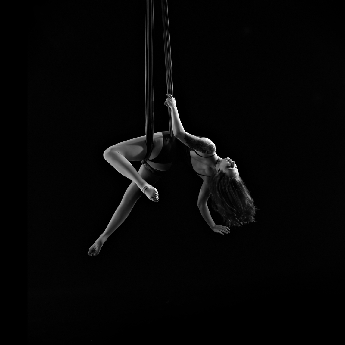 Aerial Hammock/Sling - A single aerial silk rigged as a loop from a single central point. Artists alternate between poses and sequenced wraps to move up and down the loop. Can be rigged from a lower height, and is ideal for champagne pouring services.