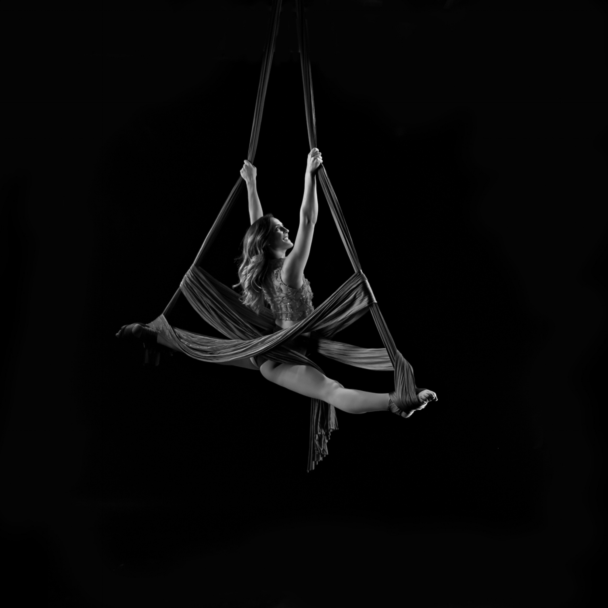 Aerial Silks - A vertical apparatus that consists of two long fabrics rigged from a central point. Artists move through a combination of climbs, foot locks and wraps to create dance sequences while suspended in the air.