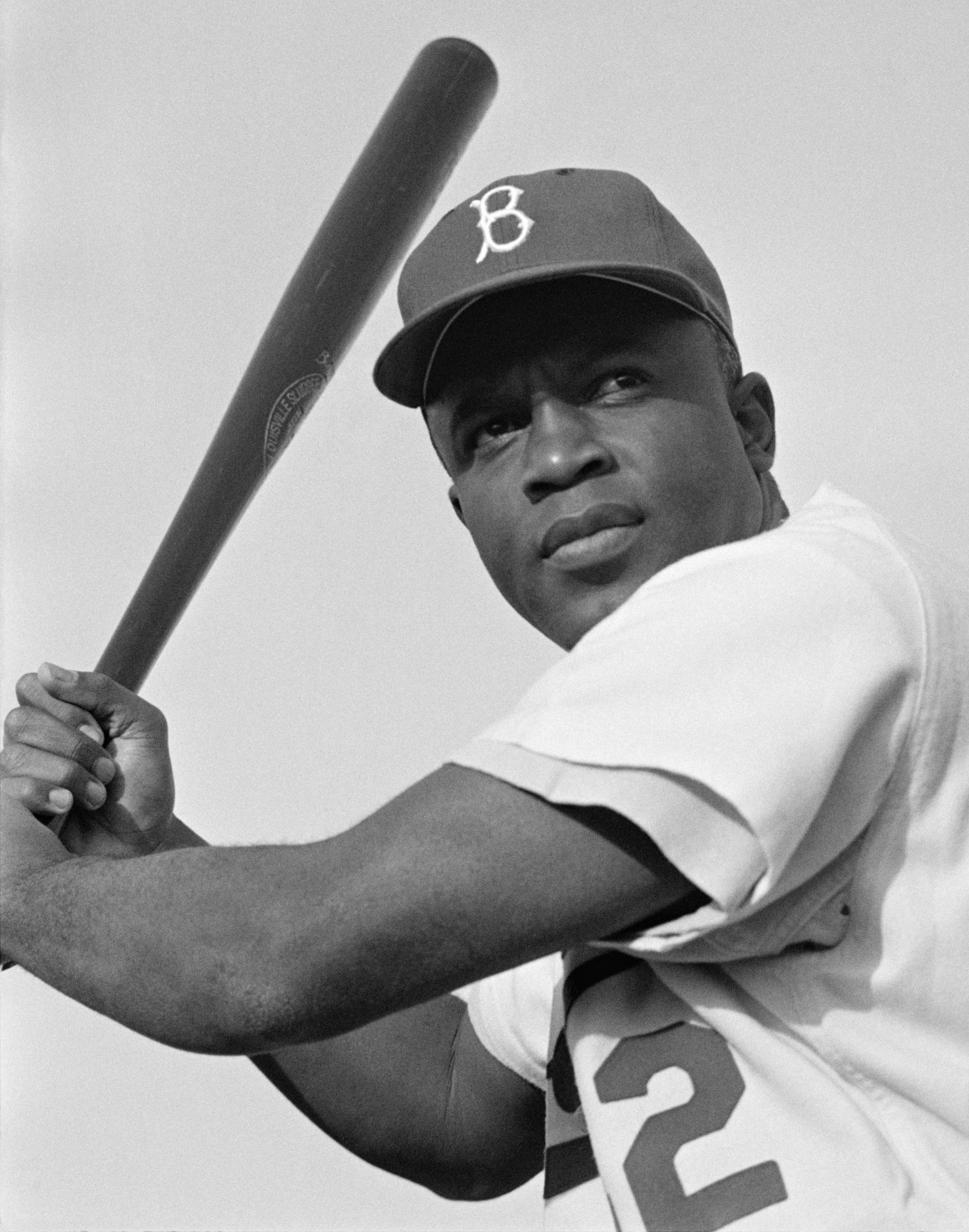 Jackie Robinson with the Brooklyn Dodgers in 1954.