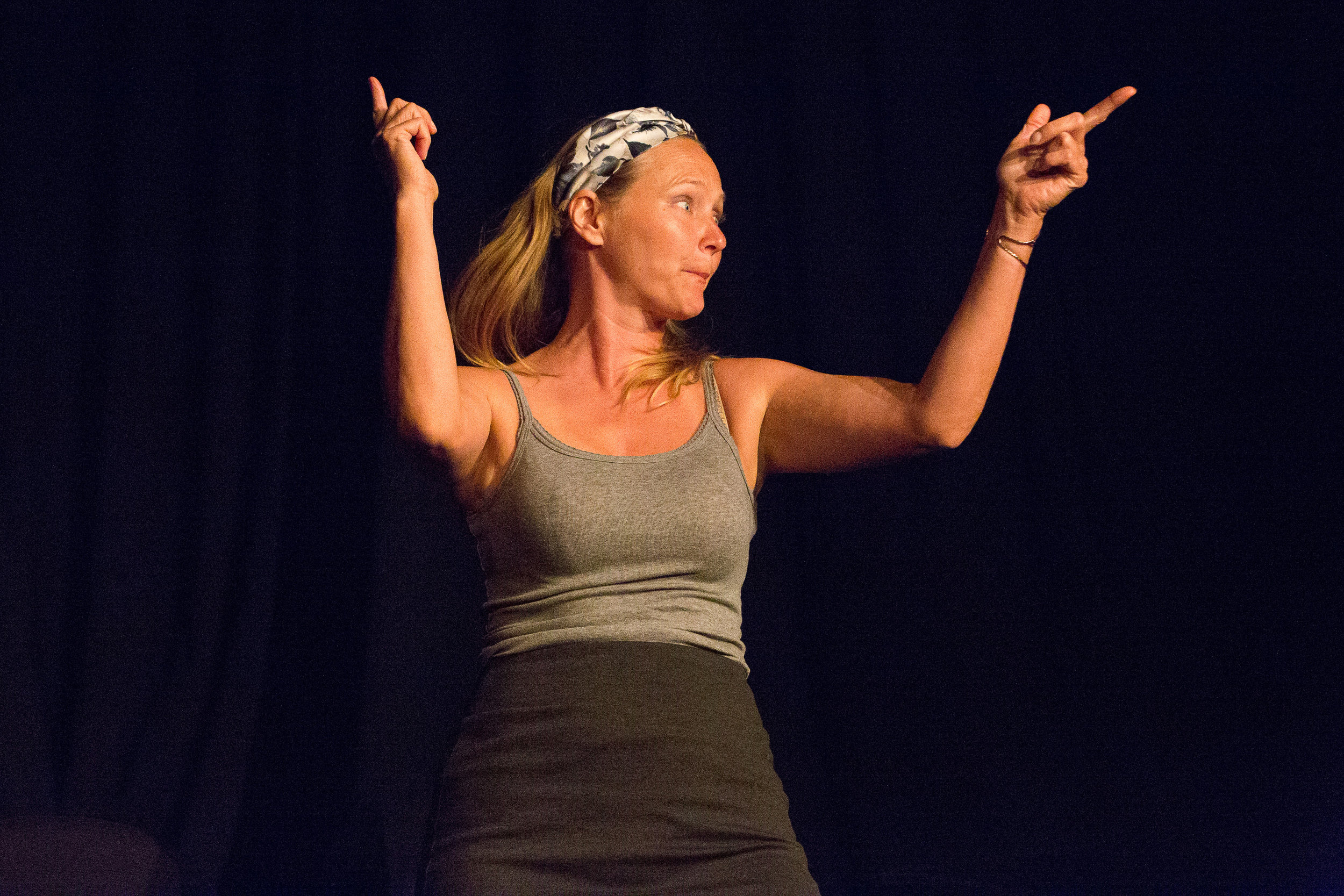 Actress peforming on stage