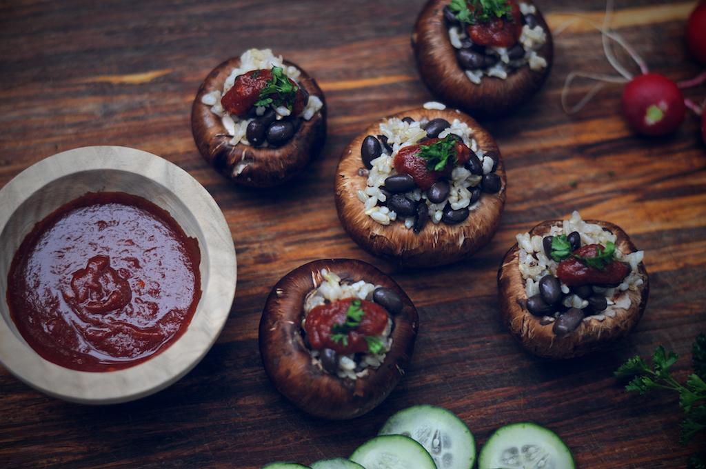 Lightly sweet and savory brown rice & black bean mushroom sliders
