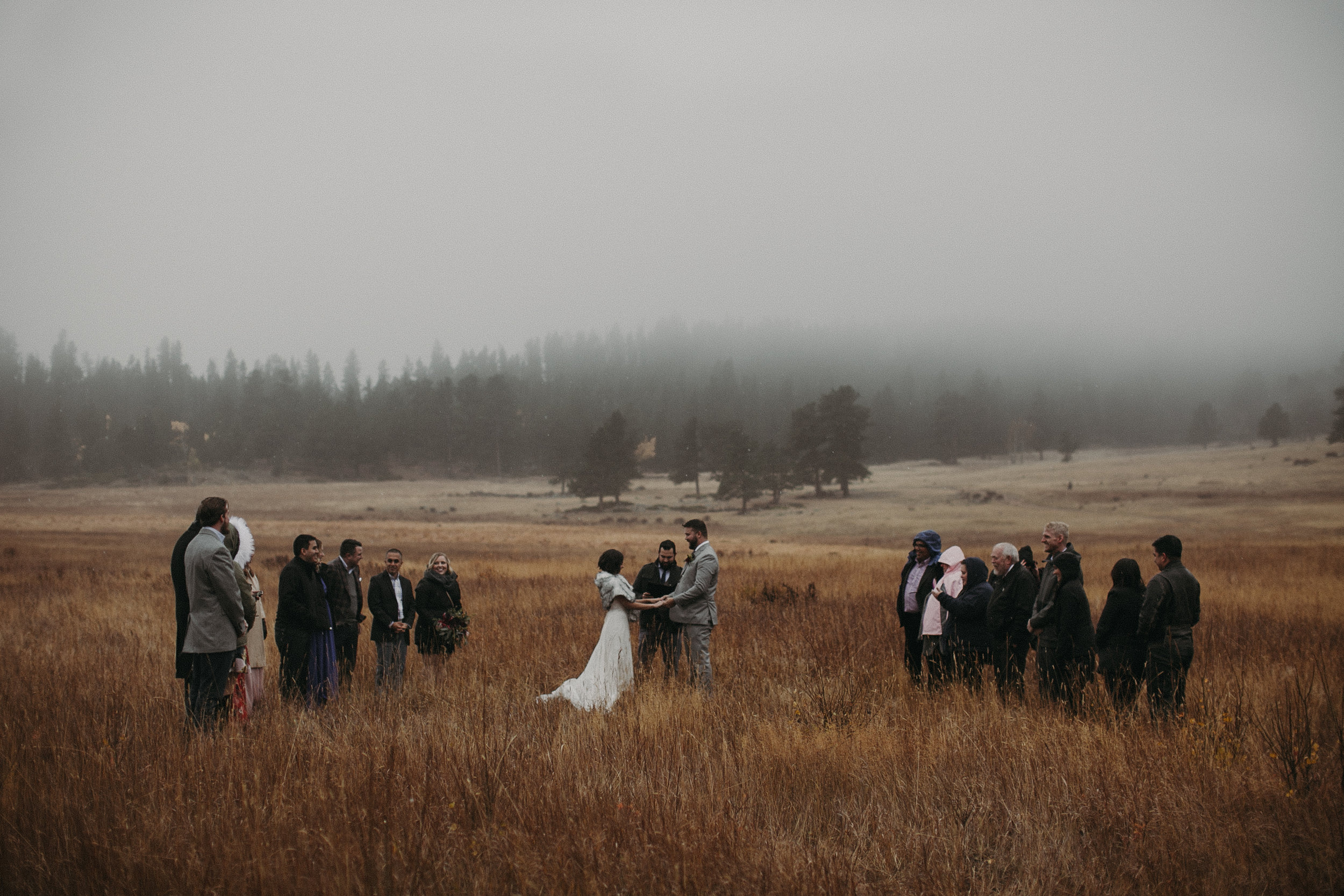 Intimate Foggy Wedding in Rocky mountain national park, cO -