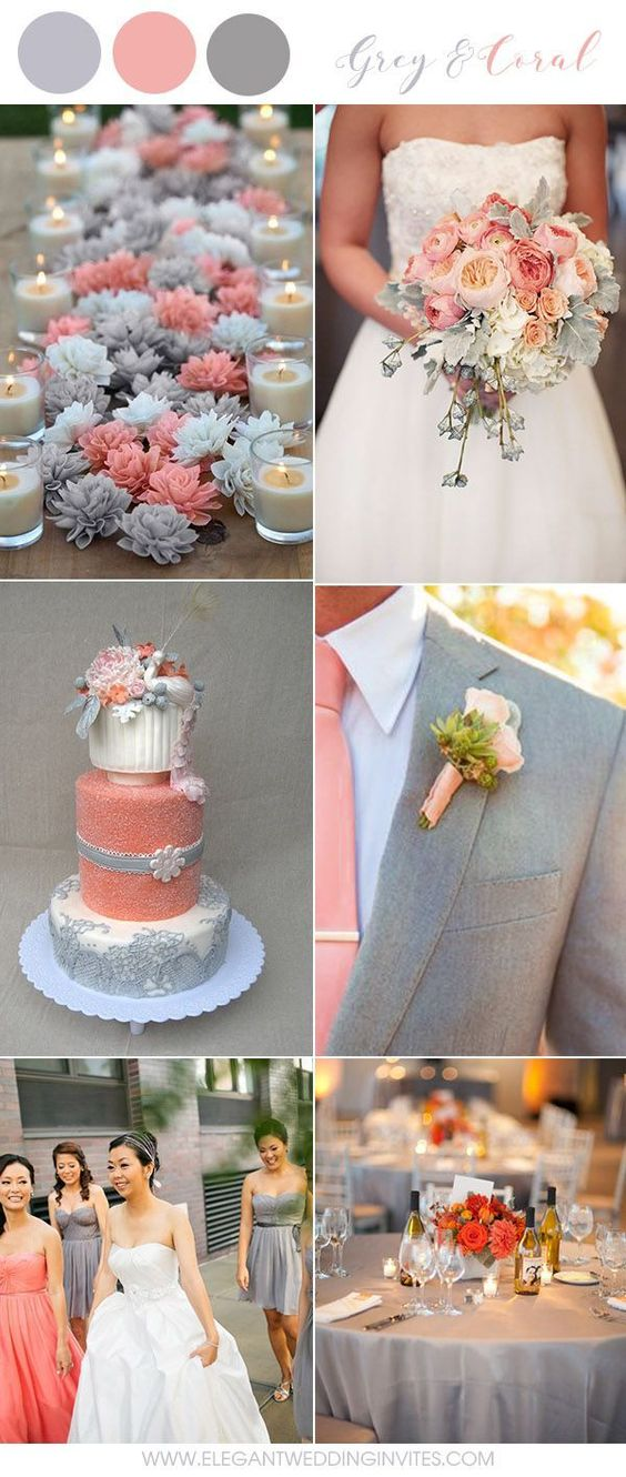 Grey + Coral - Use grey colors for the groomsmen and the coral pink for the bridesmaids to create a beautiful contrast of color. Alternate between bold pink and coral pink and grey for your wedding decor, and you've got a wonderful nature-inspired color theme that's eye-catching and gorgeous.
