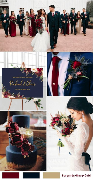 Burgundy + Navy + Gold - With navy as your base color, the burgundy really and truly pops. The two colors go together effortlessly and represent a fiery yet beautifully warm feeling for your fall or winter wedding. Your bridesmaids will look gorgeous in burgundy dresses, and the groomsmen and groom-to-be in navy. Add some gold touches for that final sparkle, and you've got an elegant wedding color palette to impress.
