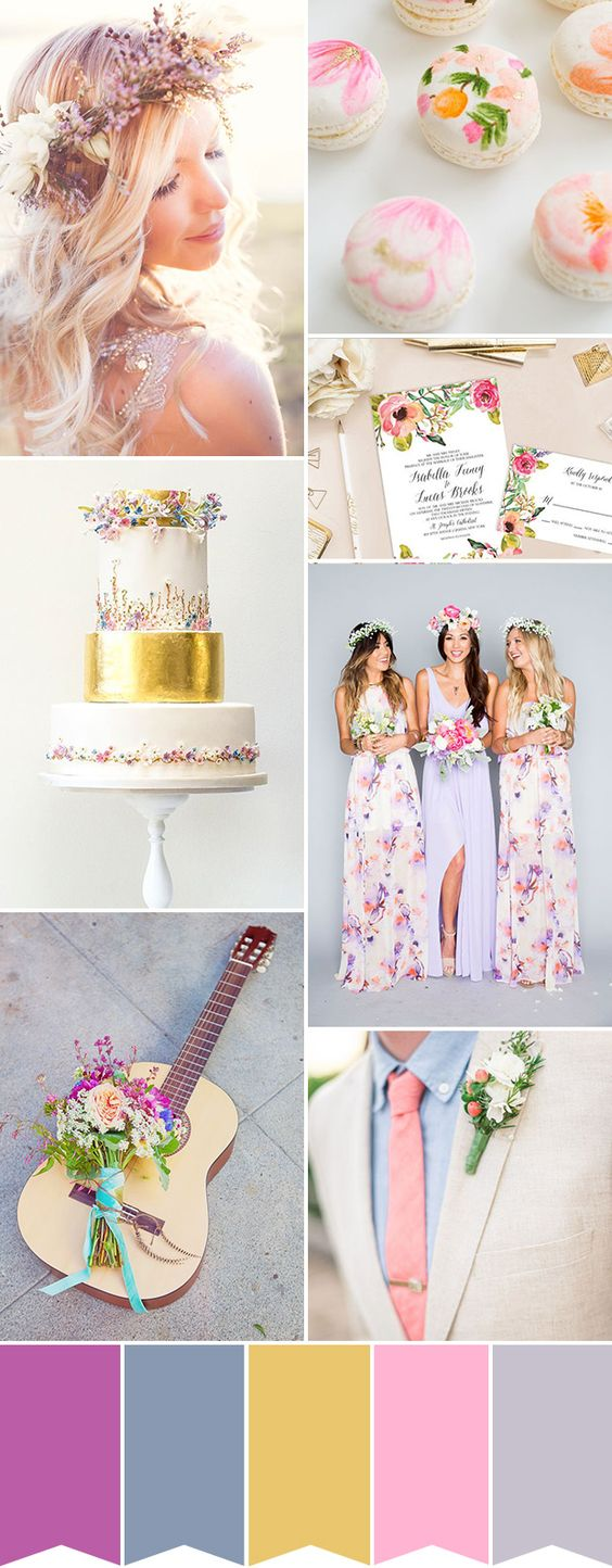 Pink + Purple + Gold + Lilac + Colorful Summer Twists - For that boho-chic slash flower-inspired carefree vibe, these colors are simply perfect. Using pastel colors with a few summery bold touches such as bright yellow, pinks and green, creates a palette that's gorgeous for any nature-inspired wedding. Consider flowers for your hair as well as for your final touches.