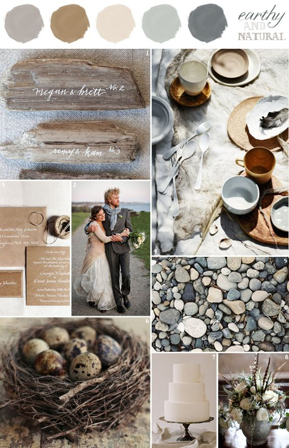 Beige + Brown + Gray-Green + Gray - You've chosen to have a mountain wedding because you're in adoration of the outdoors. And what better way to celebrate nature than to have these natural tones of beige, brown, gray-green, and gray? Create a minimalistic yet thoughtful touch with these earthy colors and embrace the fantastic scenery.