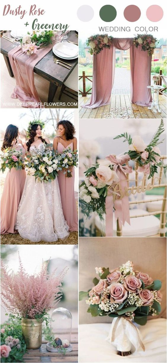Dusty Rose + Greenery - With dusty rose table runners and flowers sitting pretty alongside the color of the green forest, you've got an excellent earthy wedding color palette inspired by the great outdoors. With bridesmaids in dusty or pastel pinks, the darker colors will compliment your day perfectly.