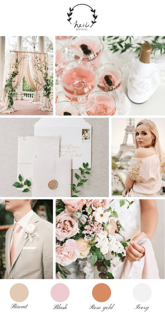 Biscuit + Rose Gold + Blush + Ivory - Use these nude colors that pair so beautifully for a natural mountain wedding. They're clean, bright and create an elegant and feminine feel. Why not have your bridesmaids wear biscuit or blush dresses with a white bouquet, with rose gold and ivory decor to grab everyone's attention?