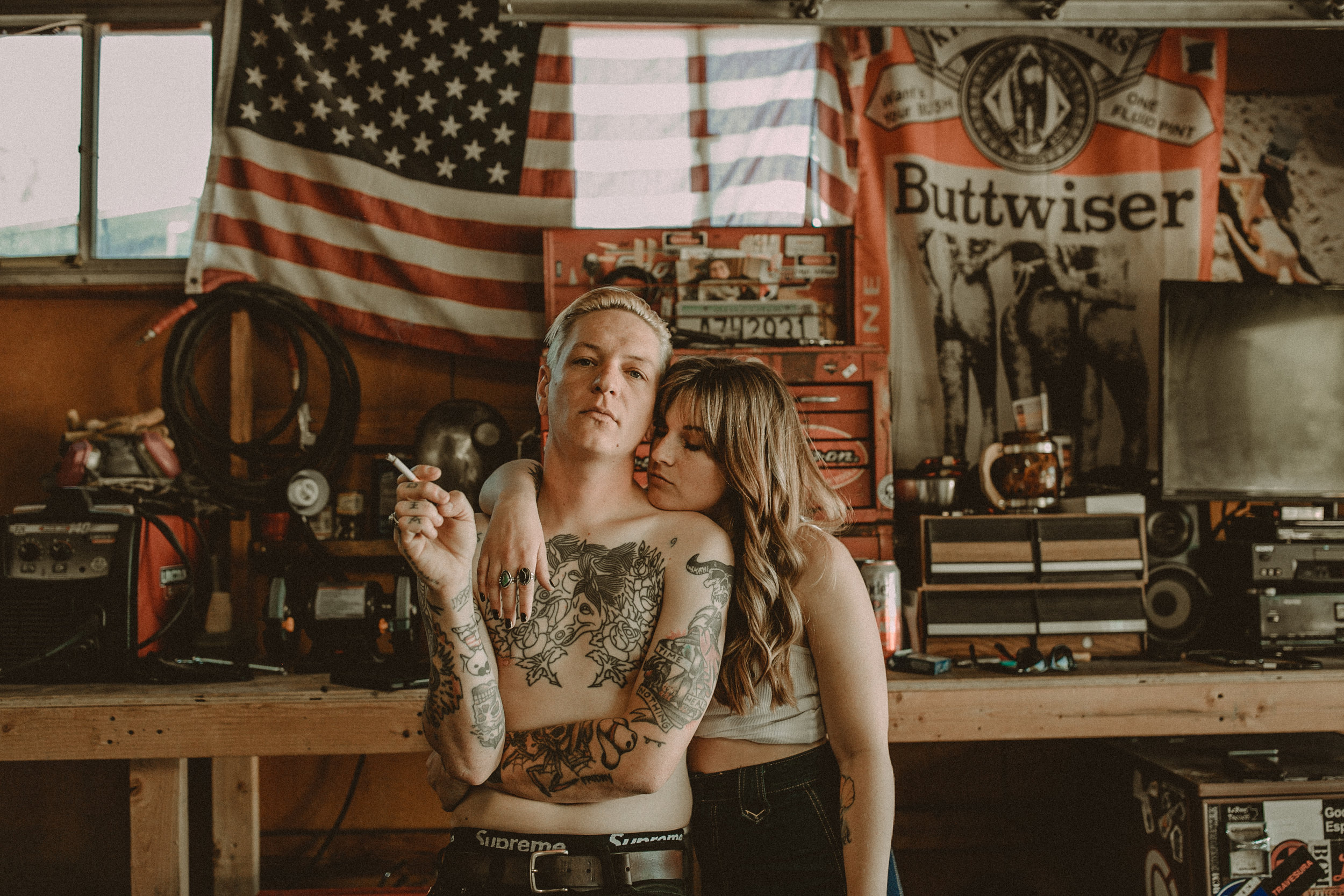Alyssa + Damien's retro garage session - People will say it's a styled session, but I just have cool friends. Their Tucson garage is a place I always told them would be perfect to capture because it's where they spend most of their time. Damien works on motorcycles and Alyssa is his wing woman. I love their americana vibes. Xoxo. Gossip girl.
