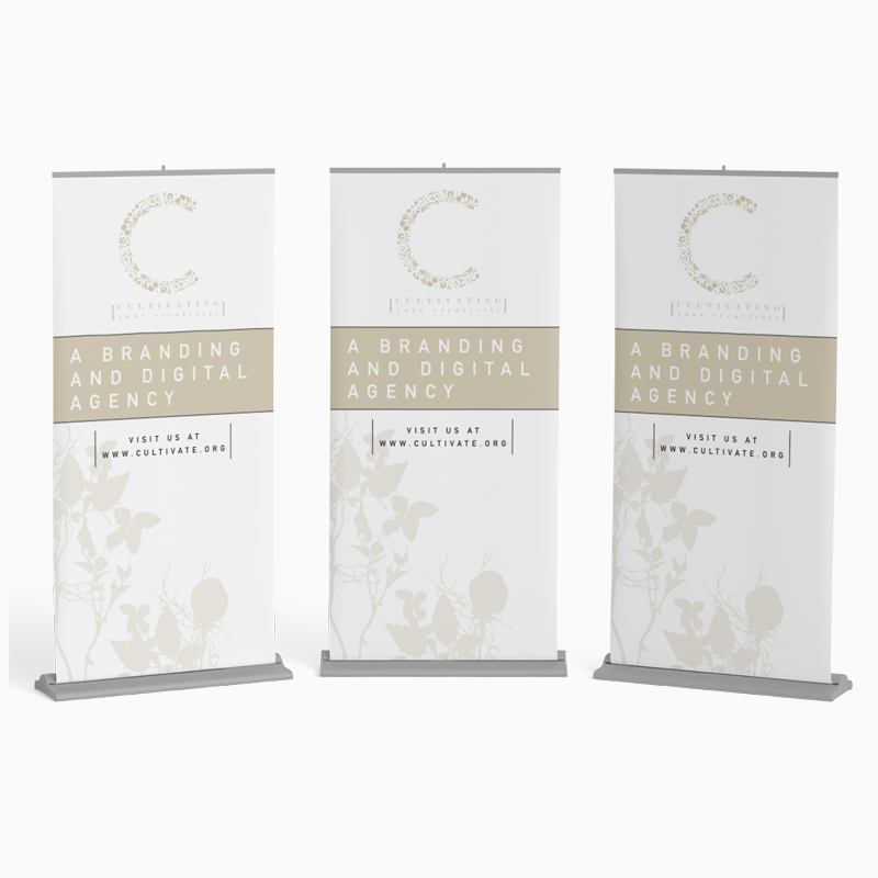 Cultivating Your Creativity  I've included logomark to Roll-Up Banner, while keeping the brand aesthetic throughout final design.