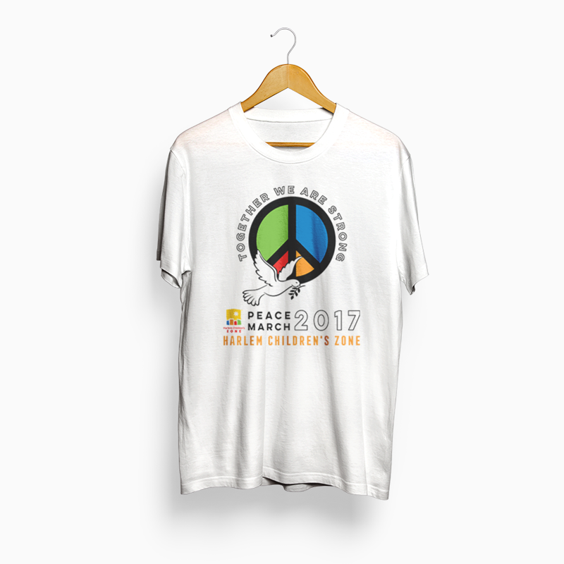Harlem Children's Zone  I had the opportunity to create a t-shirt design, for Harlem Children's Zone's Annual Peace March event. The t-shirts were worn by HCZ staff and volunteers attending the March.