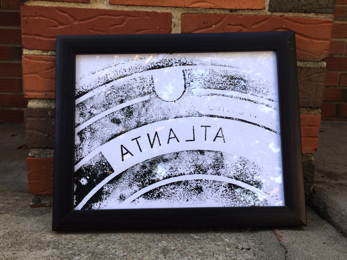 ATLANTA MANHOLE - uno  Original print on 8.5 x 11 card stock paper, using screen printing ink. Shipped and ready to be framed.