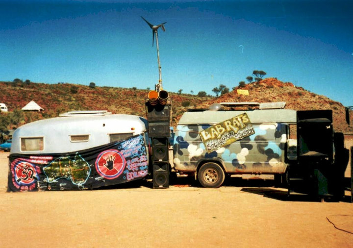 Labrats Solar Sound System and Vegetable Oil Van at Alice Springs 2000.