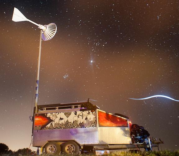 Solar and wind powered trailer, DIY Hi Fi Sound System.