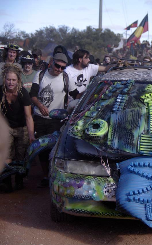 Lizard's Revenge protests against Roxby Downs uranium mine, 2013.