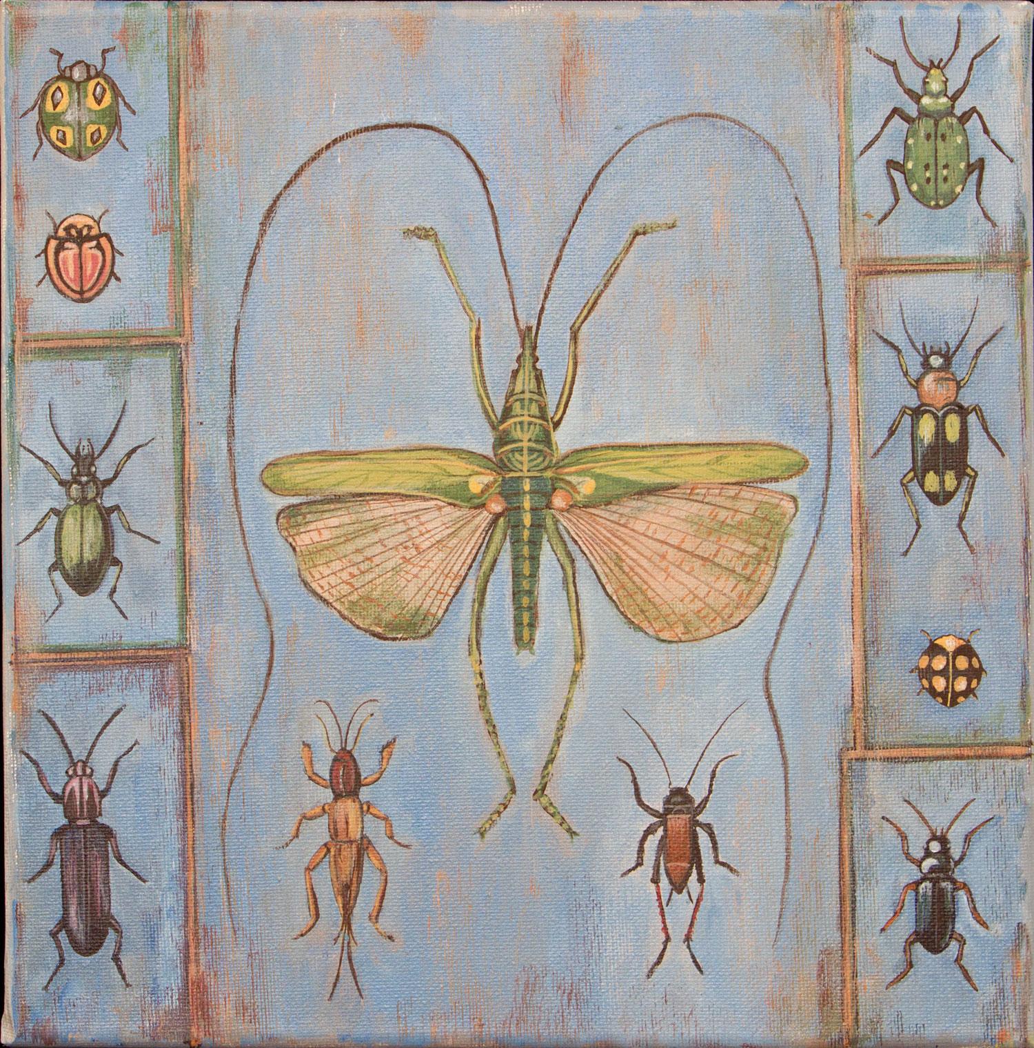 "bug specimen, 12""x12"", acrylic on canvas, 2015"
