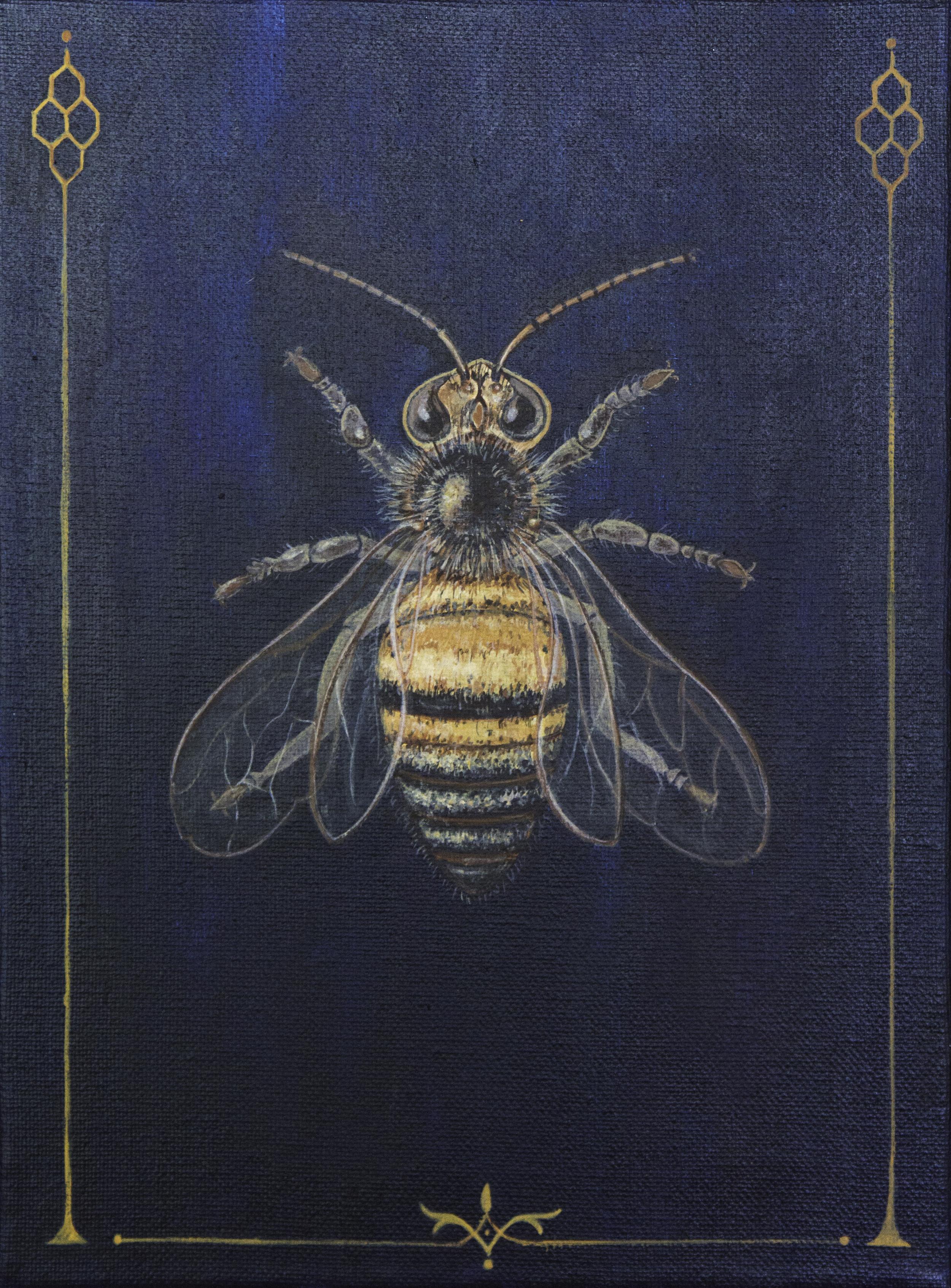 "honeybee, 9""x12"", acrylic on canvas, 2015, sold"
