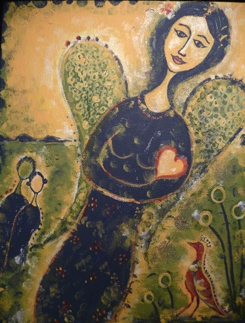 """angel of hope, 9""""x12"""", acrylic on canvas, 2010, sold"""