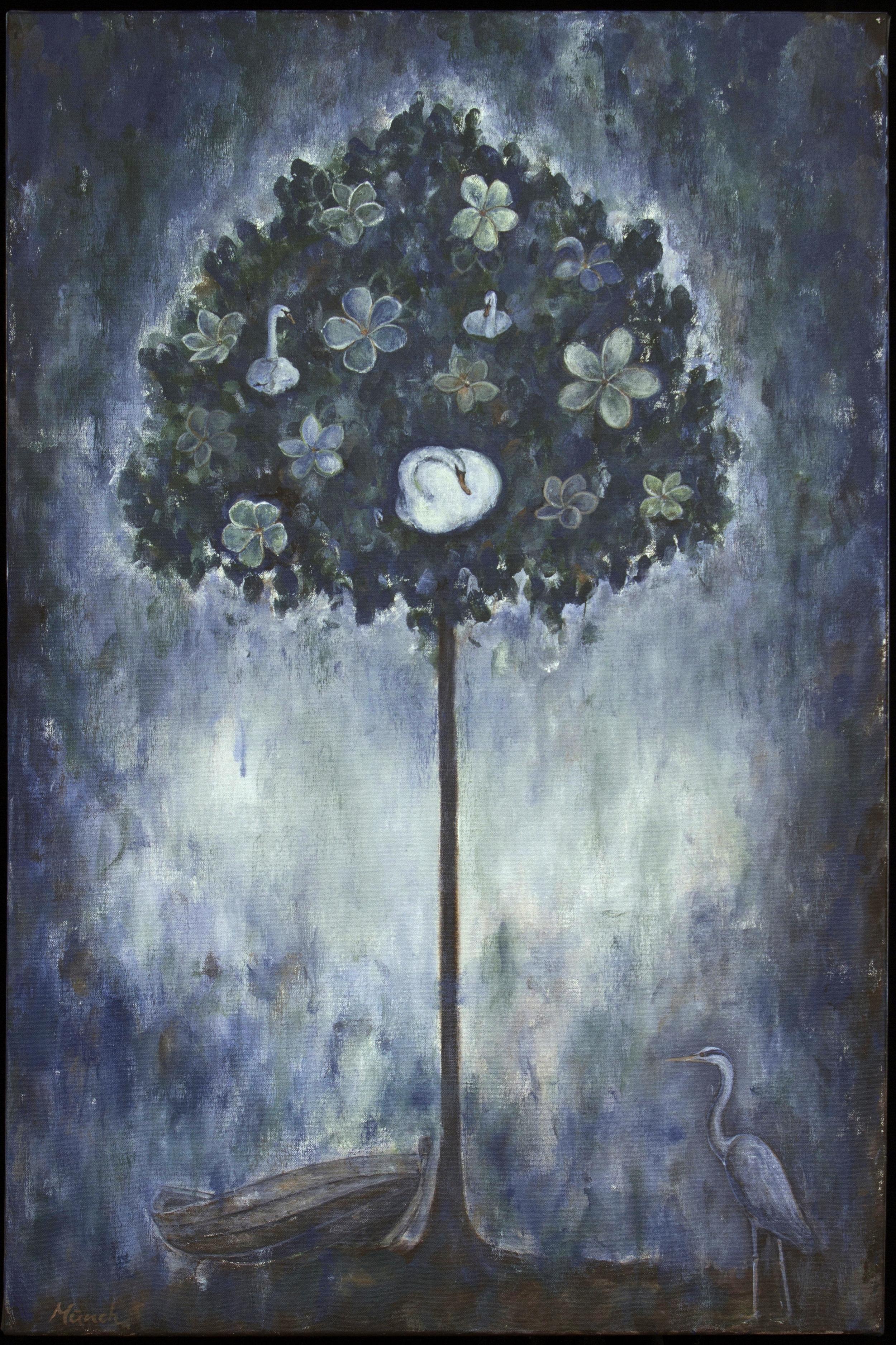 "swan tree, 24""x36"", acrylic on canvas, 2014, sold."