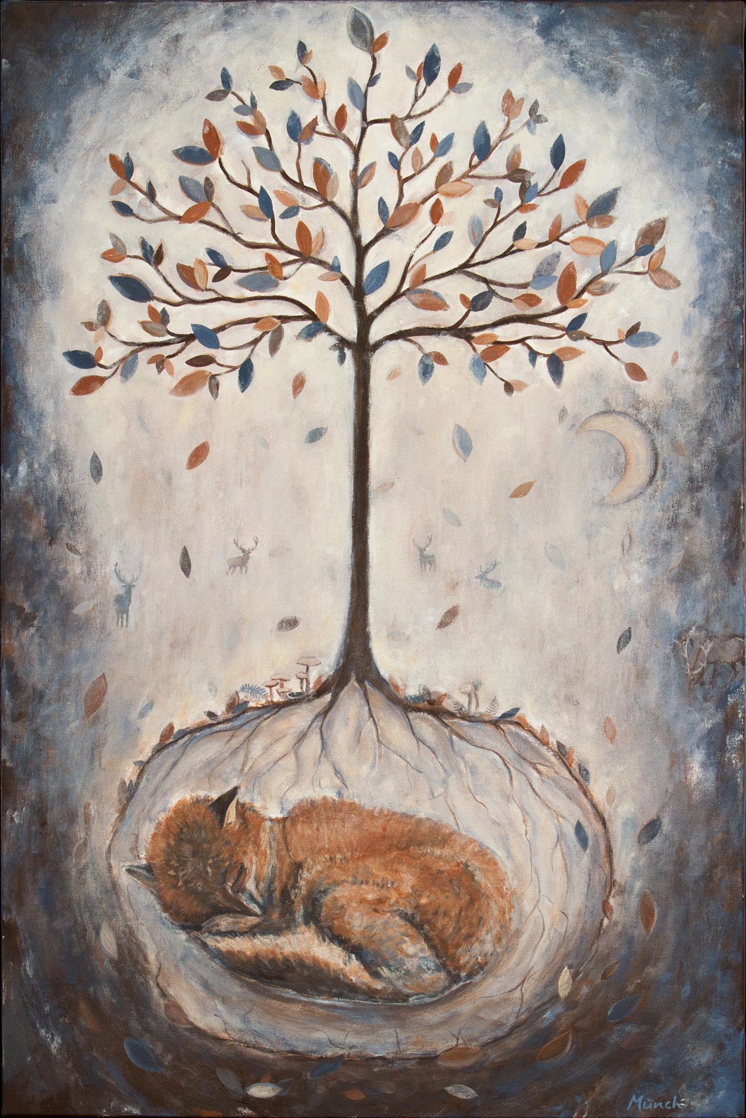 """fall tree, 24""""x36"""", acrylic on canvas, 2014"""