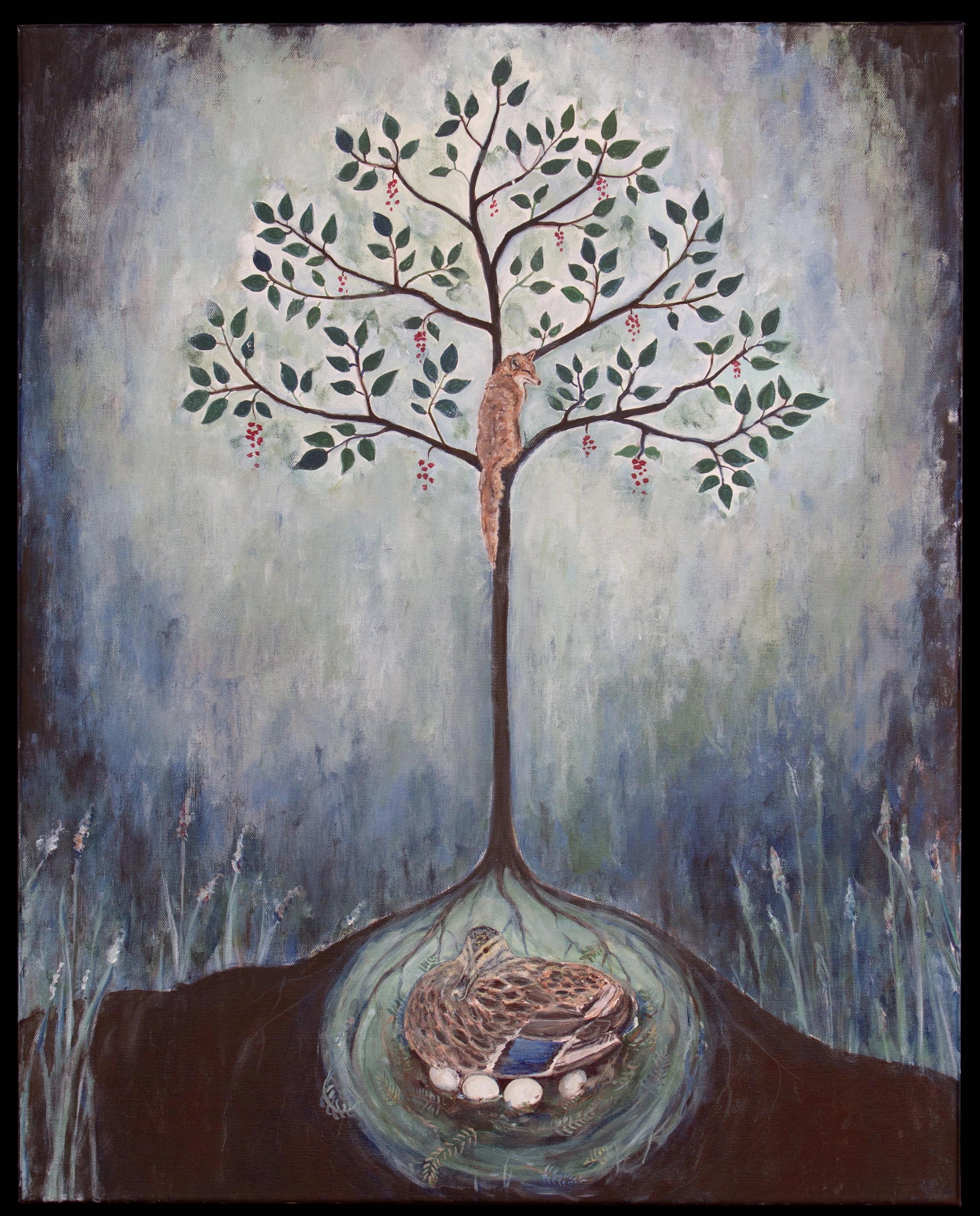 "fox tree, 24""x30"", acrylic on canvas, 2015"