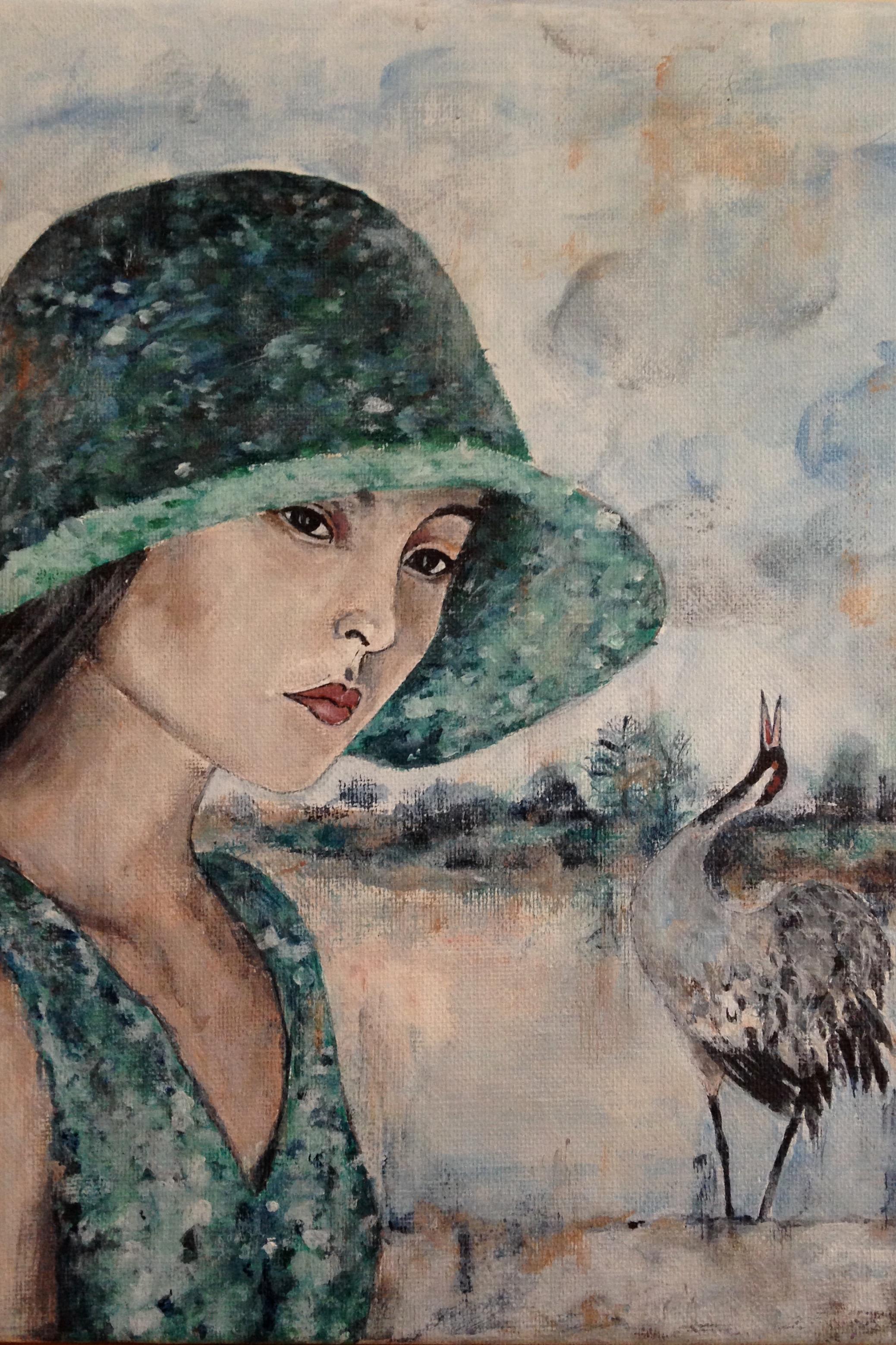 "woman with bird II, 9""x12"", acrylic on canvas, 2015"