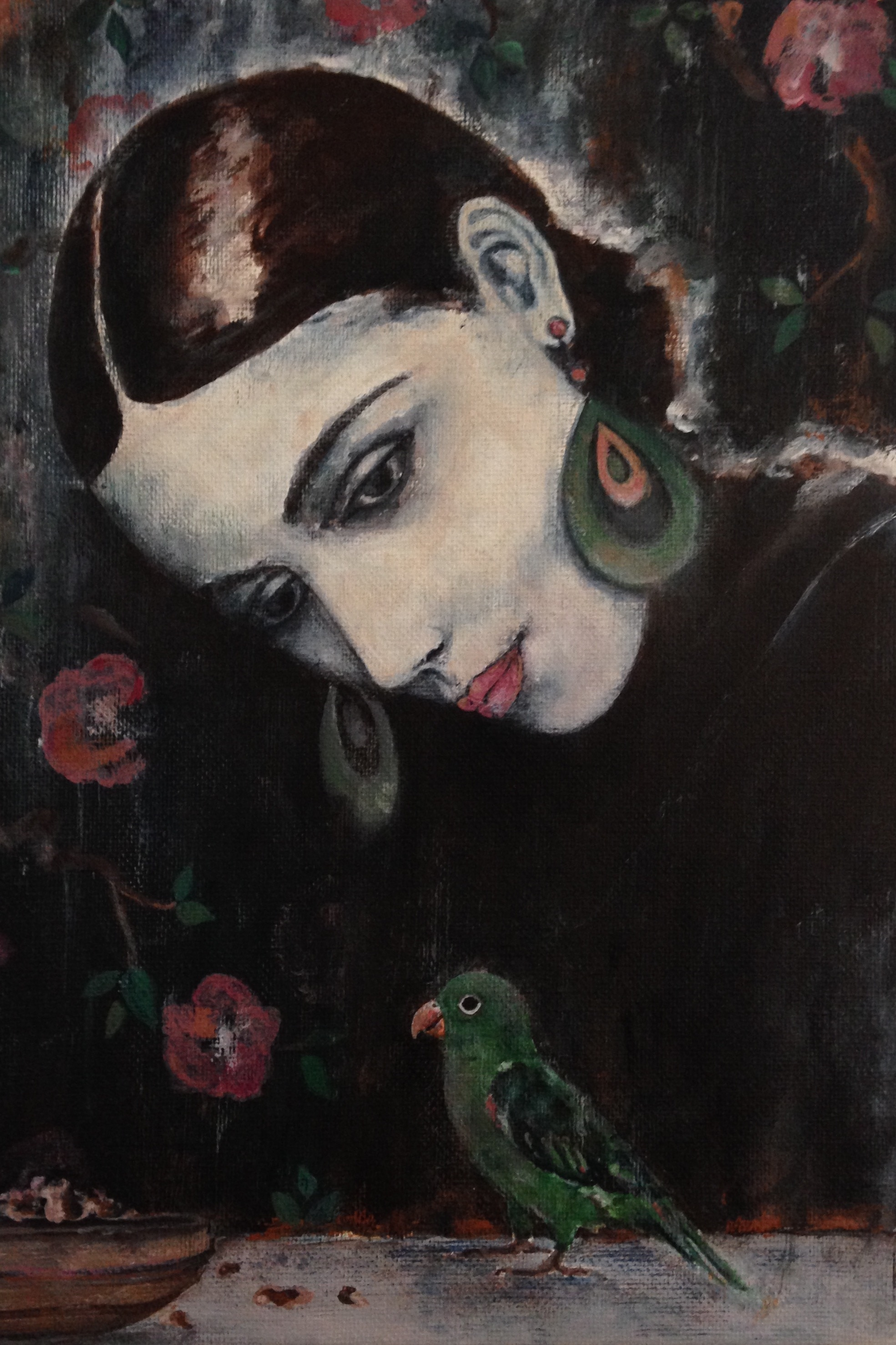 "woman with bird III, 9""x12"", acrylic on canvas, 2015, sold"