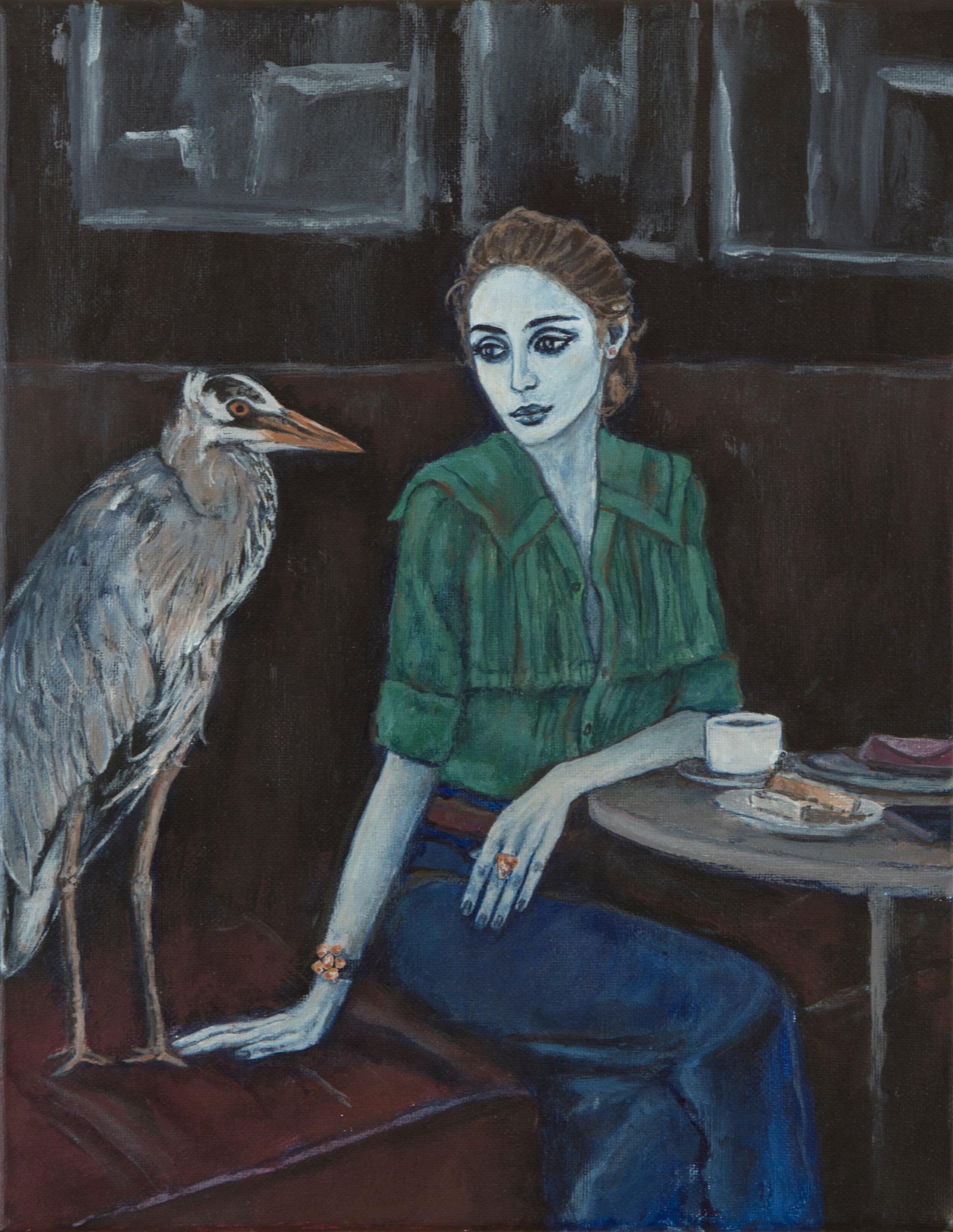 """femme au café, 11""""x14"""", acrylic on canvas, 2015"""