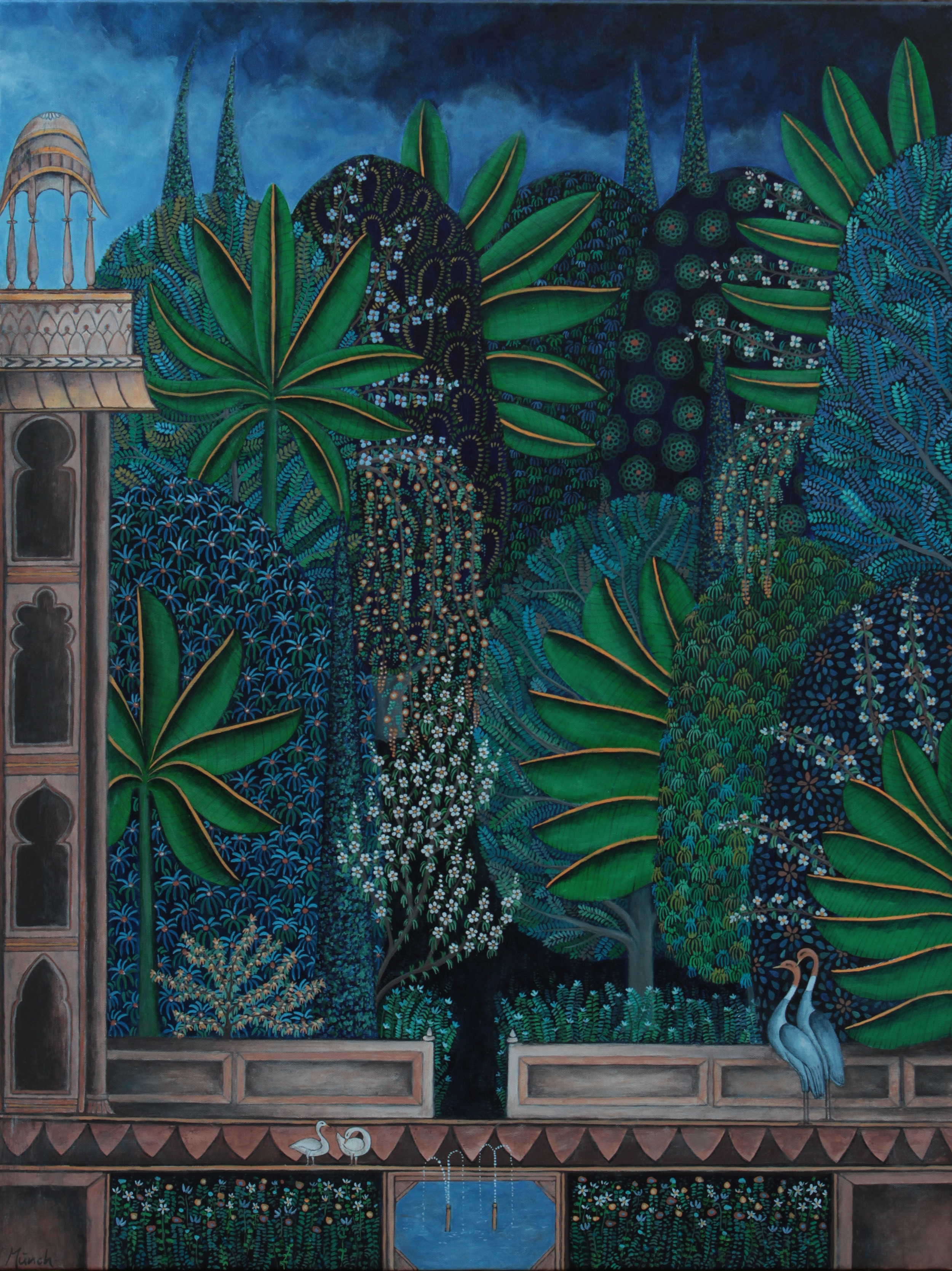 """palace garden in blue and green, 30""""x40"""", acrylic on canvas, 2015, sold"""