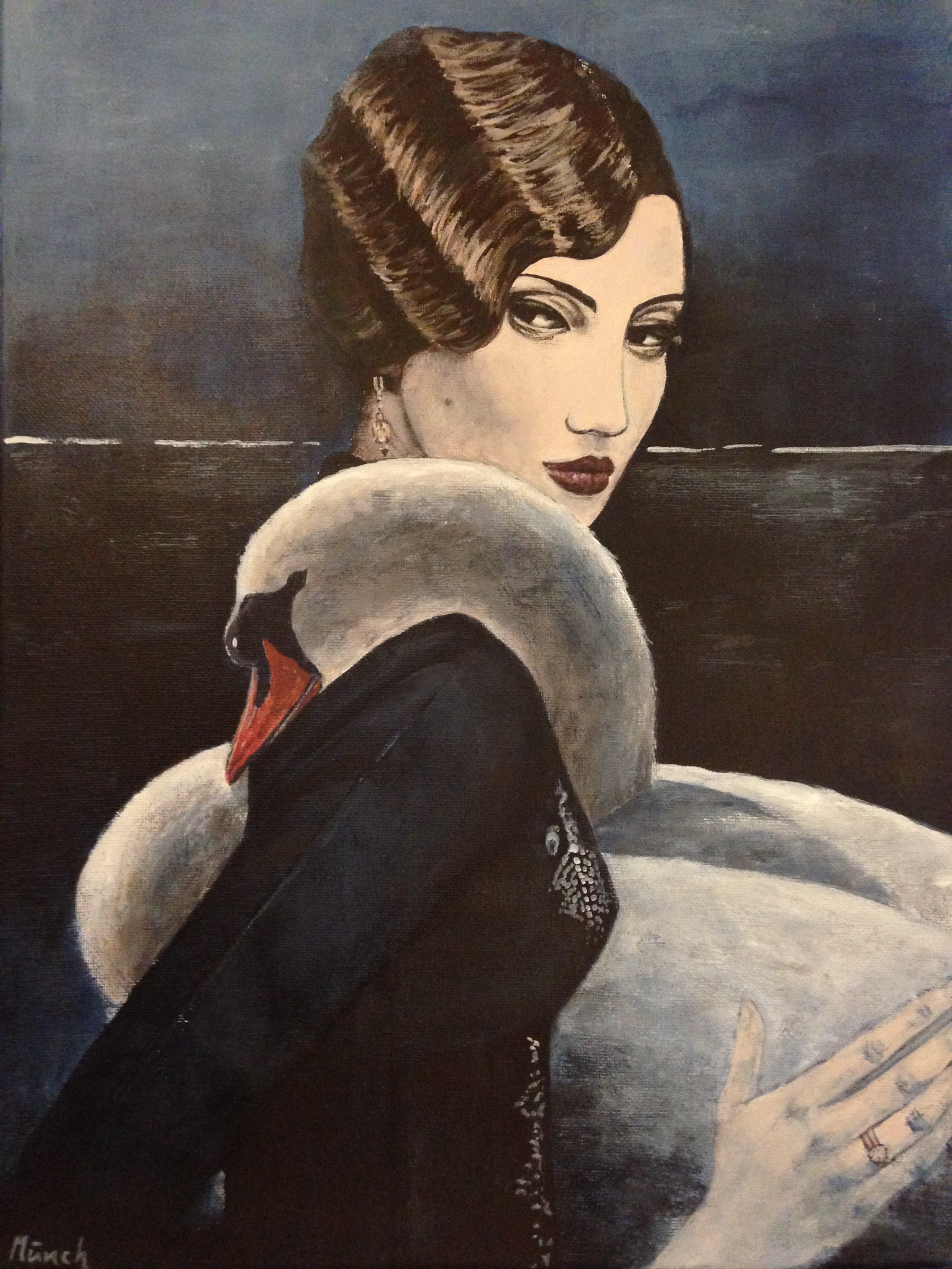 """woman with swan, 12""""x16"""", acrylic on canvas, 2016"""
