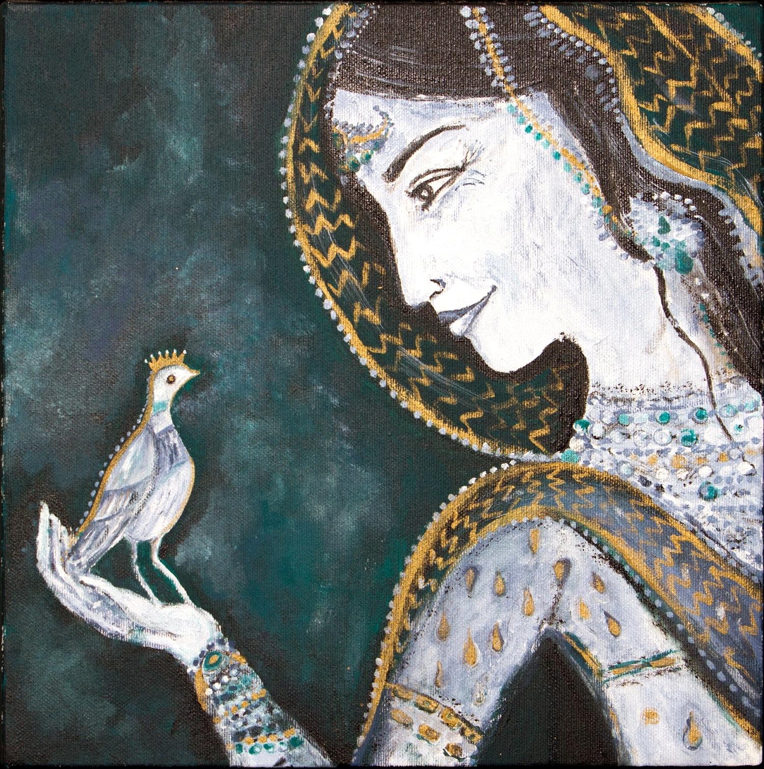 """lucky bird, 12""""x12"""", acrylic on canvas, 2008"""