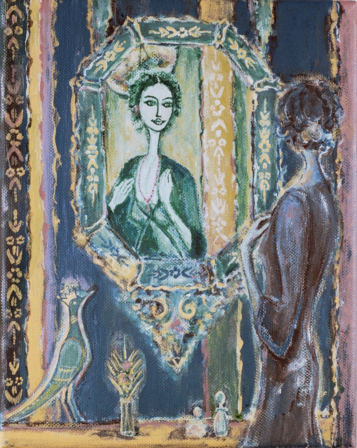 """woman in the mirror, 9""""x12"""", acrylic on canvas, 2010"""