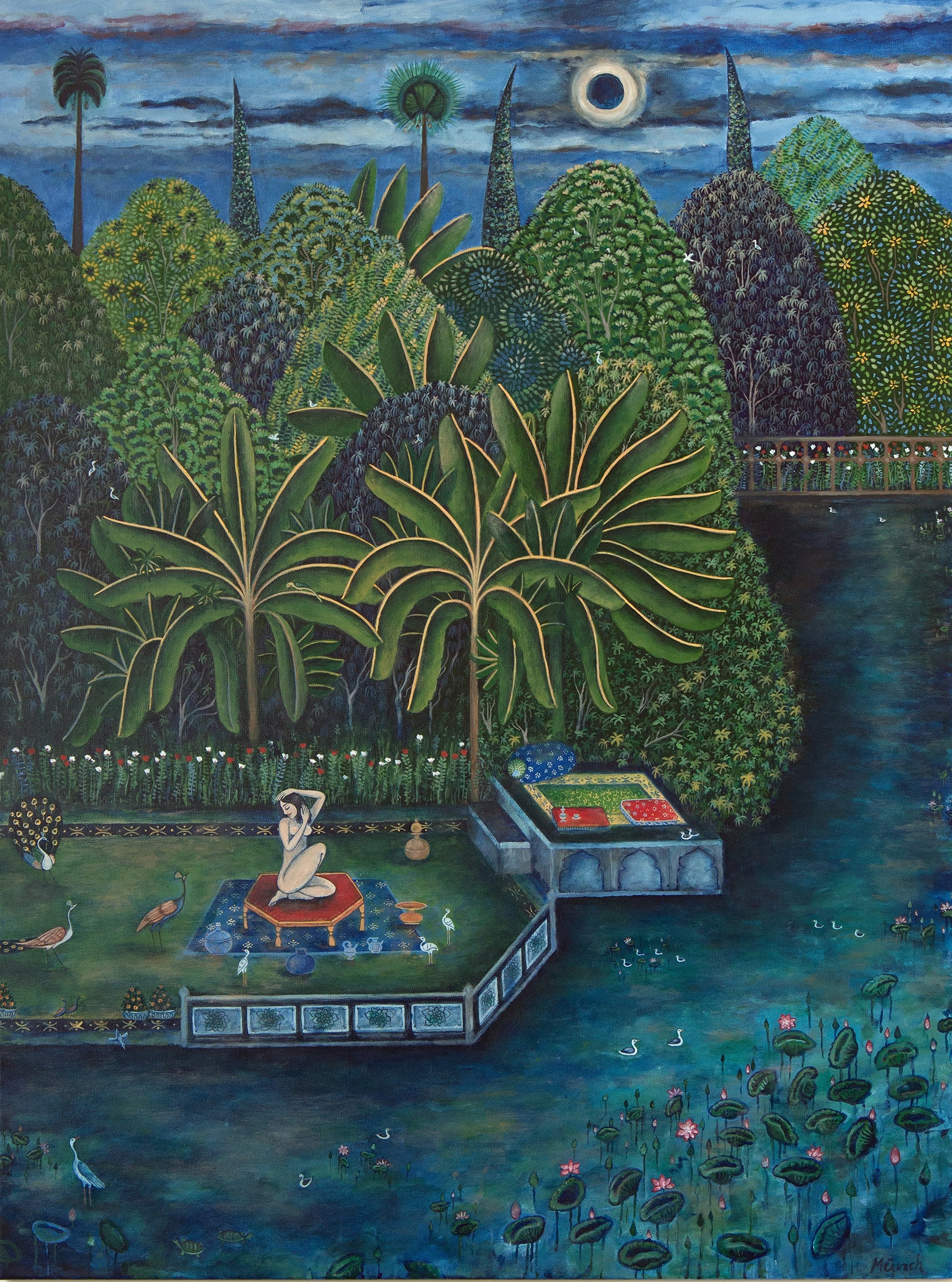 """woman by the garden pond, 36""""x48"""", acrylic on canvas, 2016"""