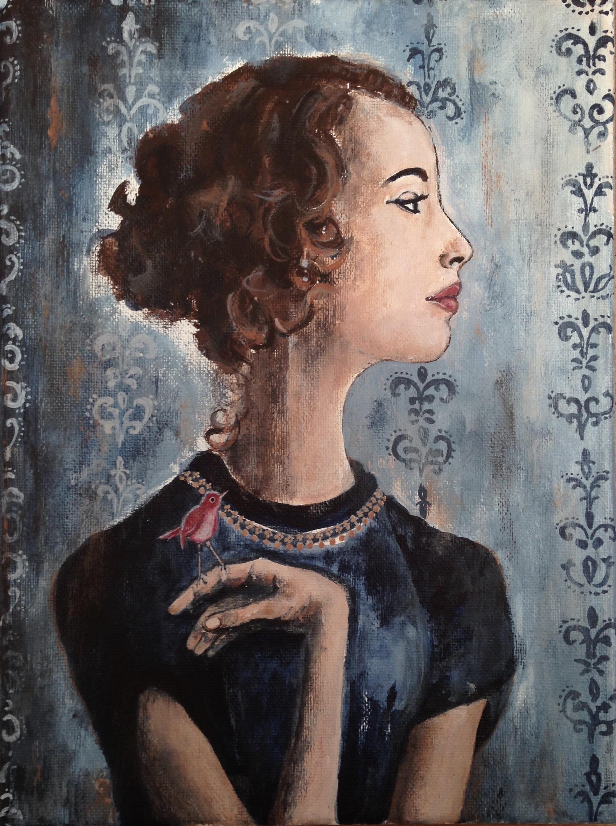"""woman with bird I, 9""""x12"""", acrylic on canvas, 2015"""