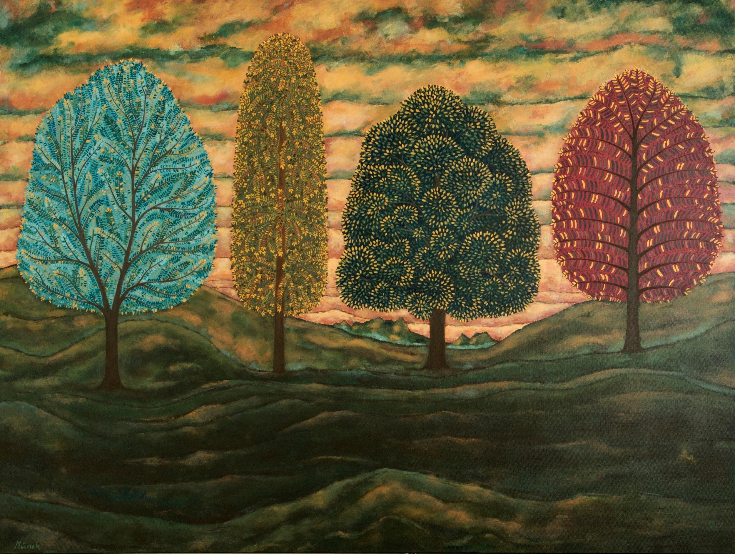 """four fall trees, 36""""x48"""", acrylic on canvas, 2015"""
