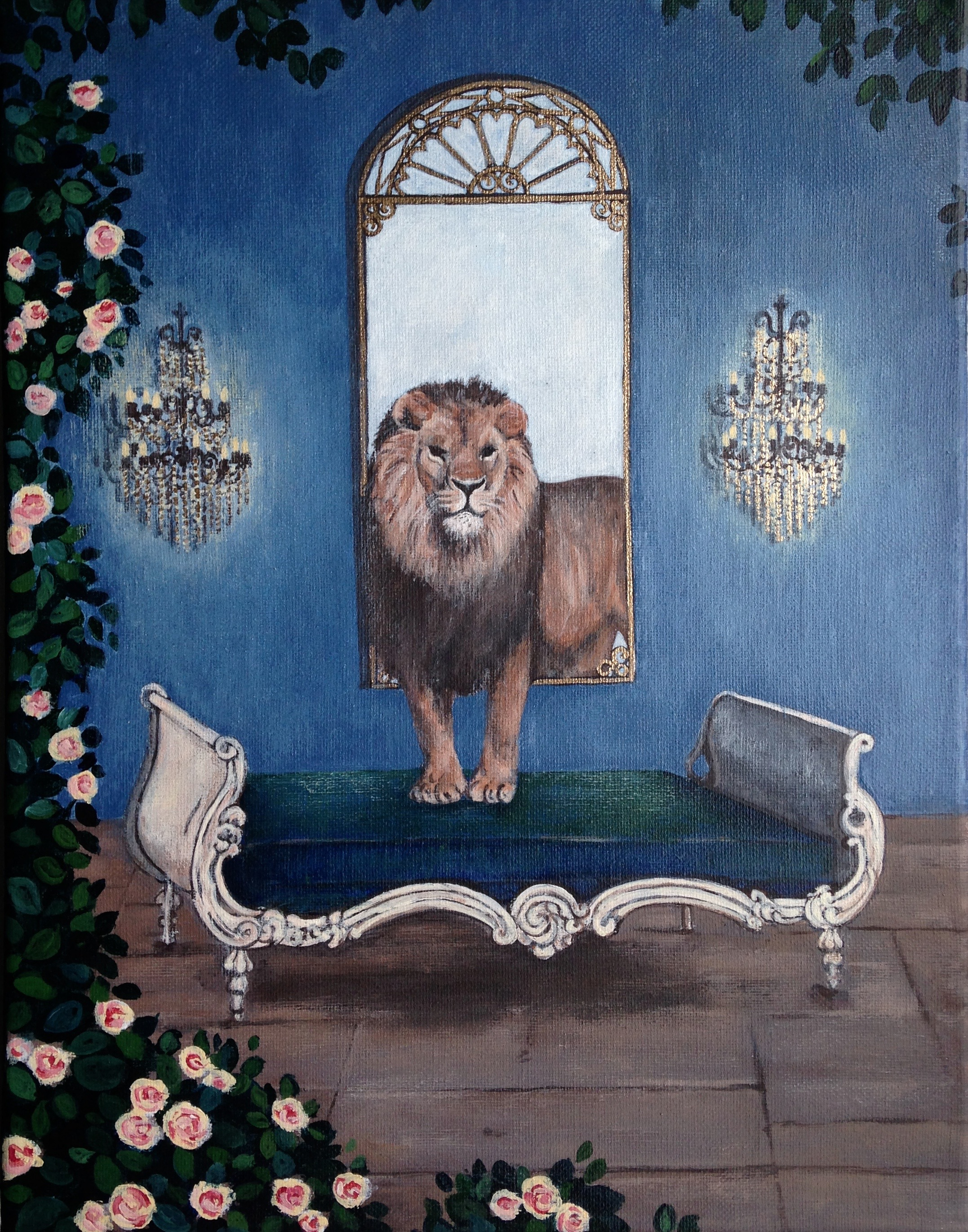 lion and roses, 11''x14'', acrylic on canvas, 2016