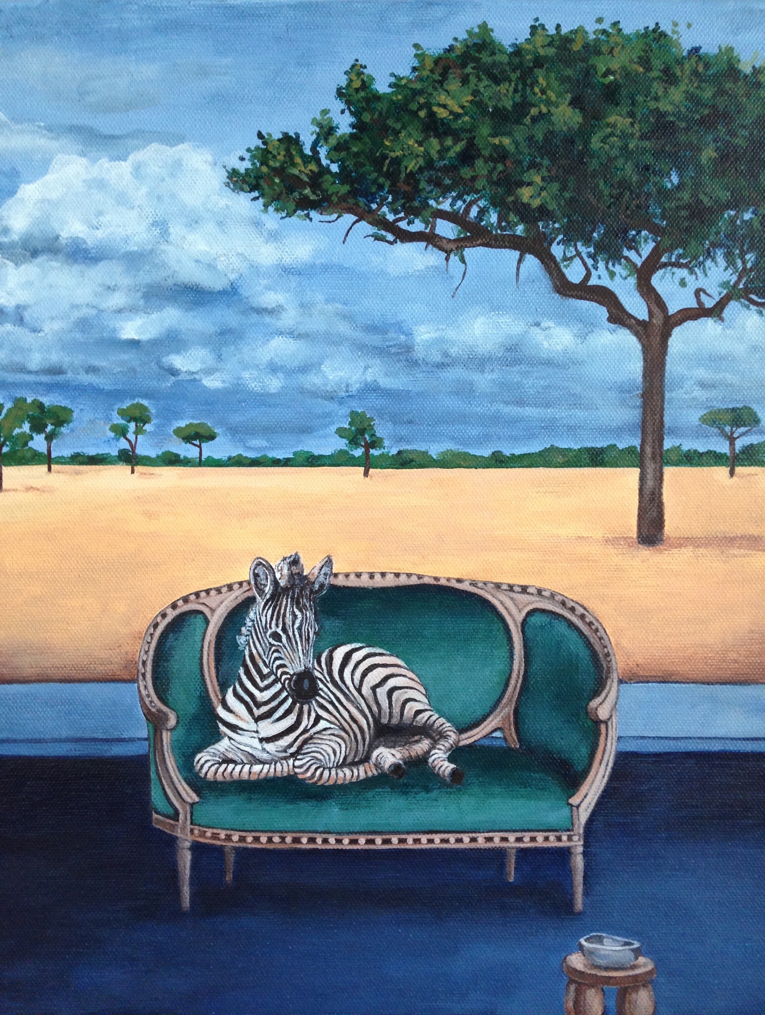 little zebra, 11''x14'', acrylic on canvas, 2016