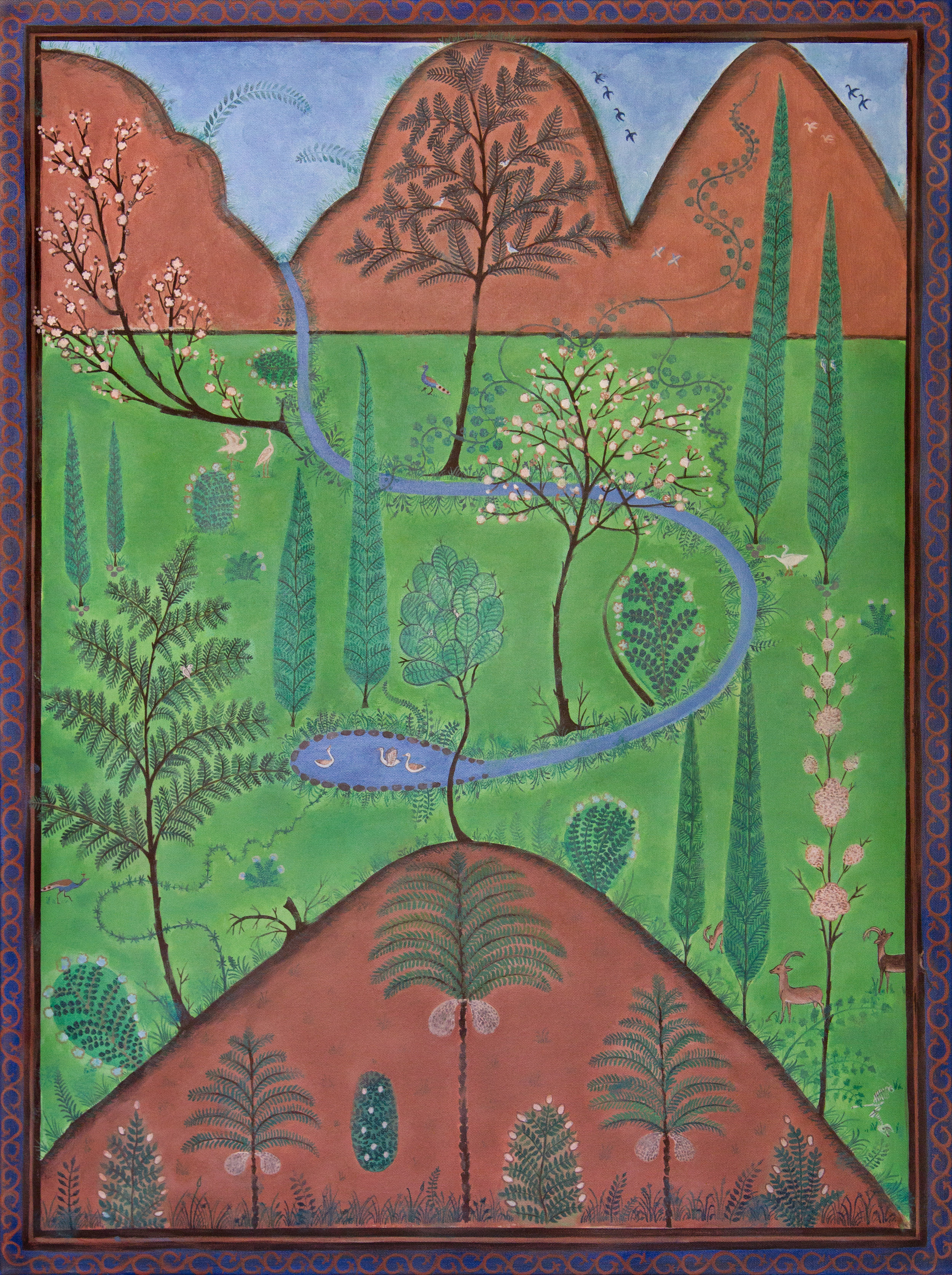 """medieval islamic garden, 30""""x40"""", acrylic on canvas, 2015"""