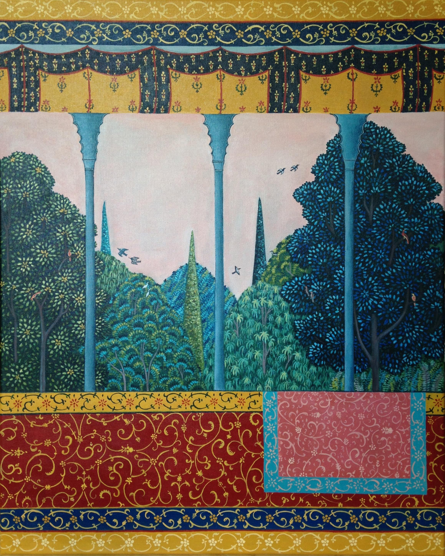 dusk over the mafraj, 24''x30'', acrylic on canvas, 2016