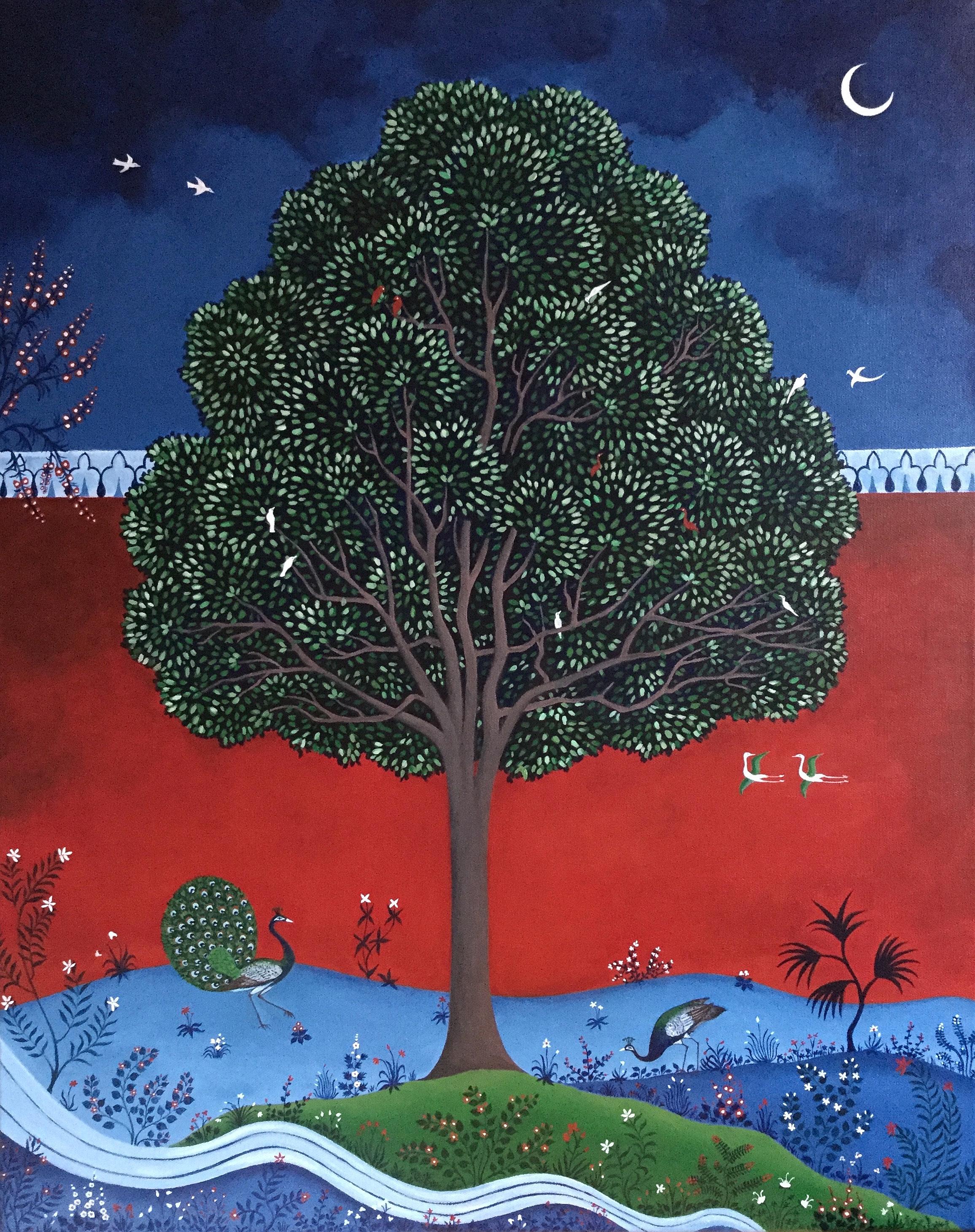 the red garden, 24''x30'', acrylic on canvas, 2017